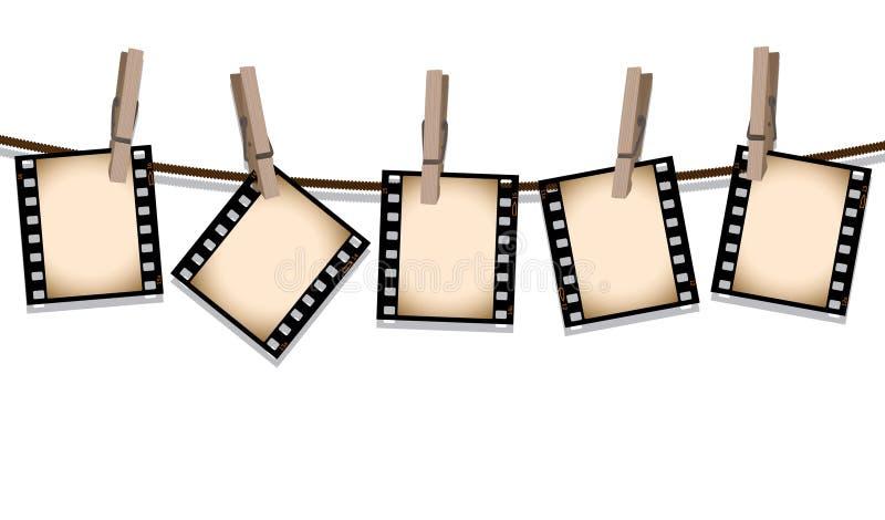 Sepia filmstroken die uit hangen te drogen vector illustratie