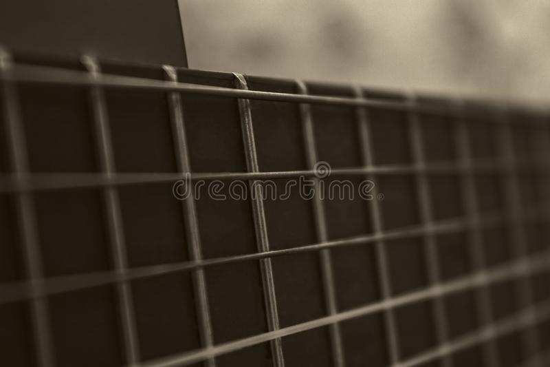 Sepia Gitaar Fretboard royalty-vrije stock afbeelding
