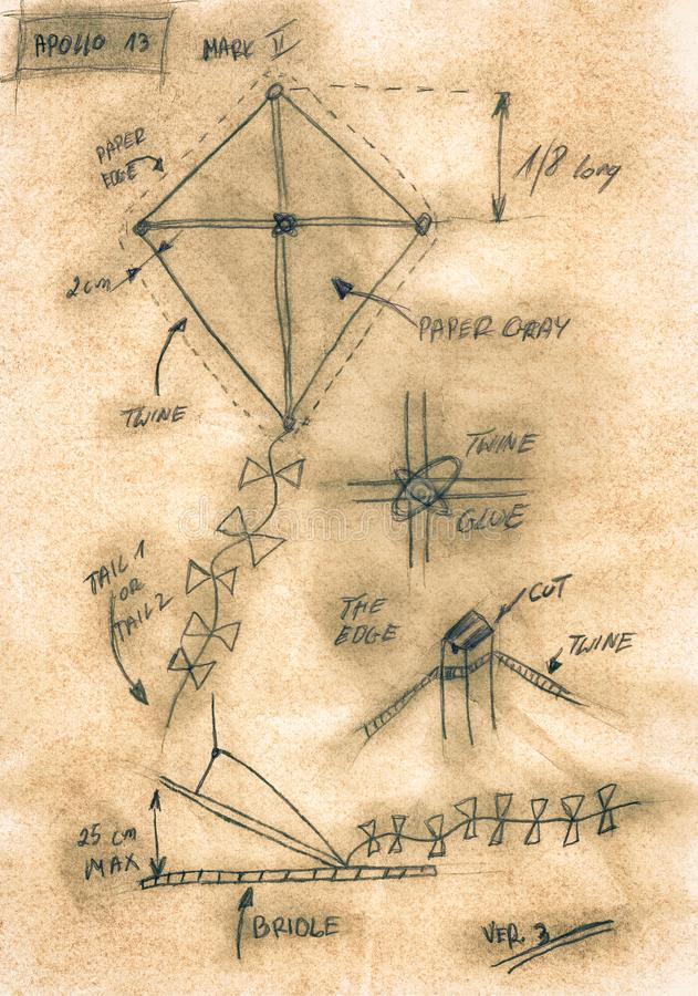 Sepia handmade diagram of how to build a kite royalty free stock photography