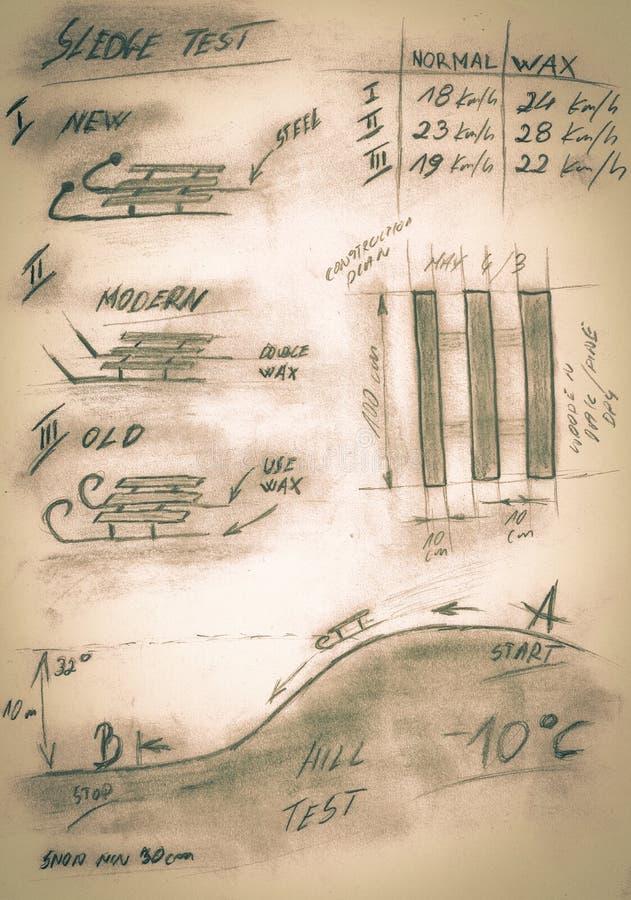 Sepia handmade diagram of testing procedure sledge royalty free stock photos