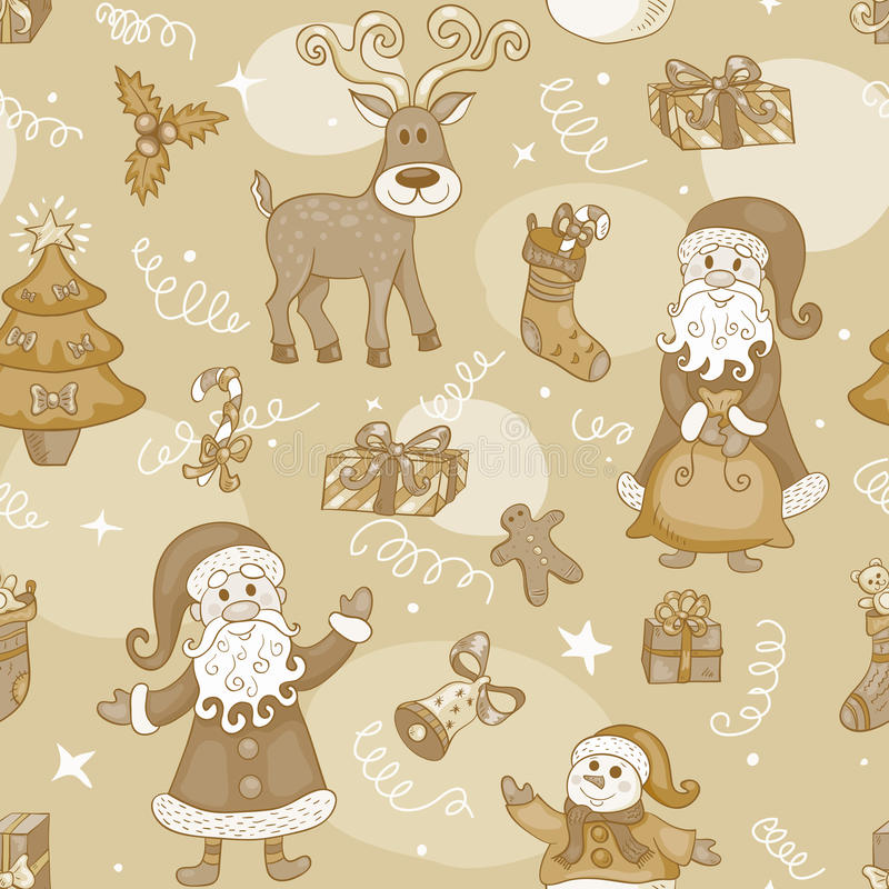 Sepia holiday seamless pattern. Christmas background stock illustration