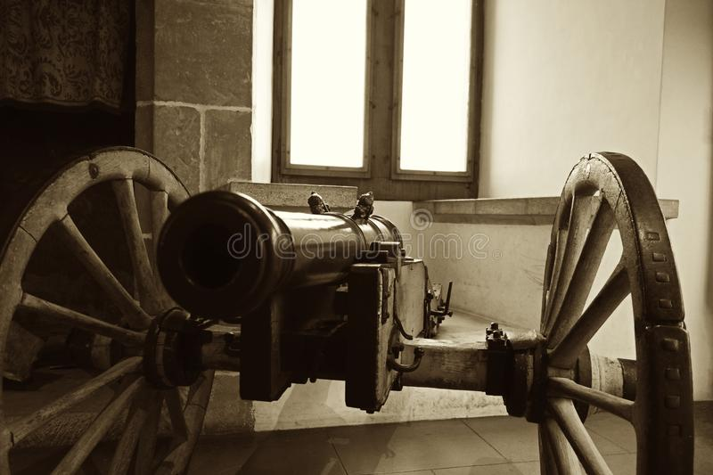 Vintage Image of Medieval Canon on Wheels stock photography