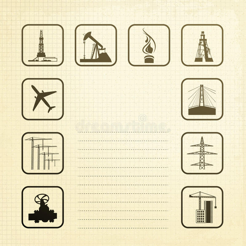 Sepia Industry Icons Stock Photo