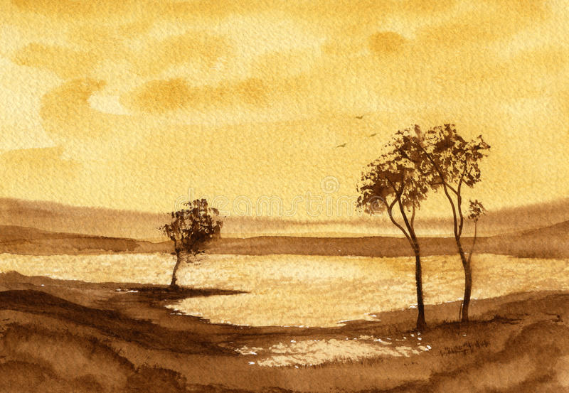 Sepia Landscape 2. A watercolour landscape featuring a lake and trees stock illustration
