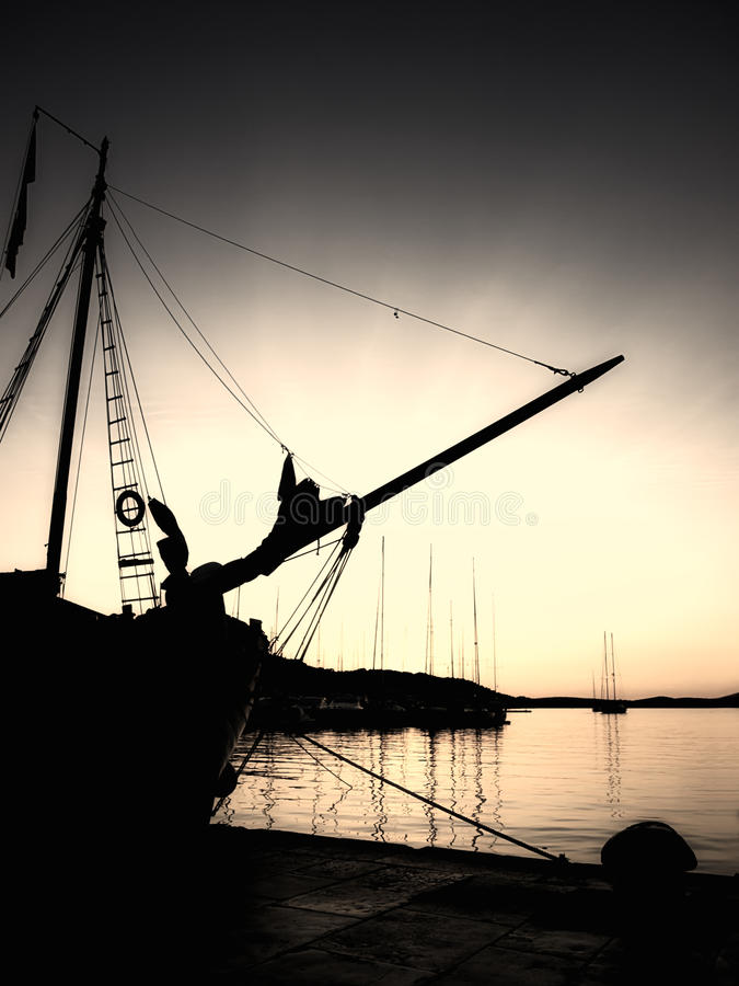 Sepia Nautical Sunset Royalty Free Stock Photography