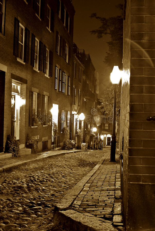 Download Sepia night time in boston stock image. Image of early - 3431819