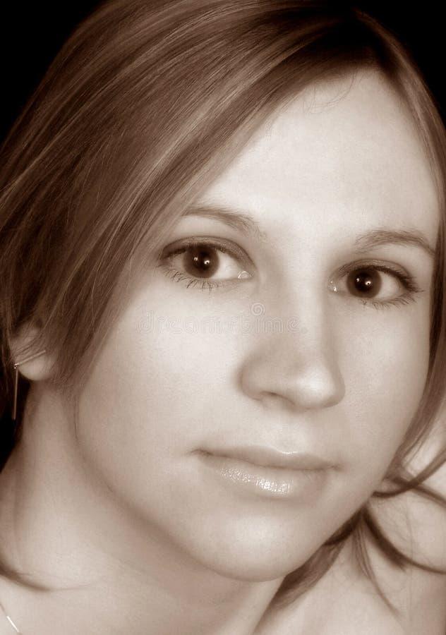 Sepia-Portrait lizenzfreie stockfotos