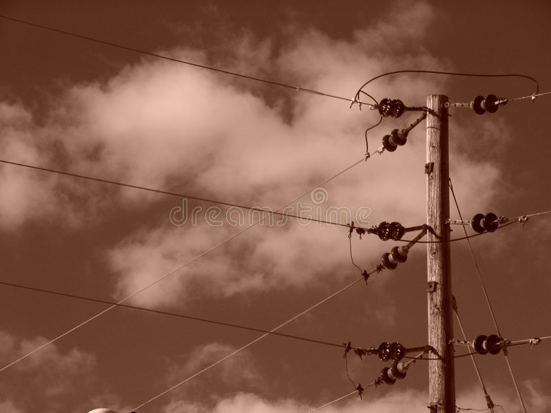 Download Sepia Power Lines With CLouds Stock Image - Image of pole, clouds: 107971