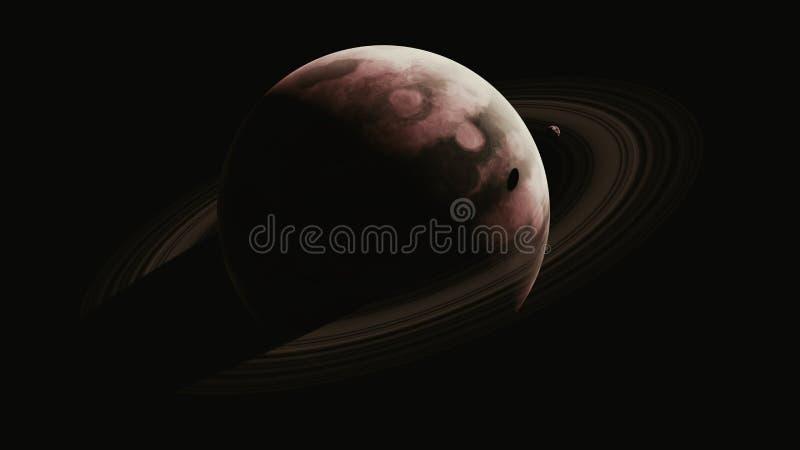 Sepia-riesiger Gas-Planet mit einem kleinen umkreisenden Satelliten vektor abbildung