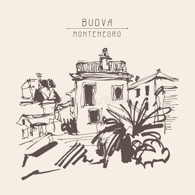 Sepia sketch drawing of historical building with palm in Budva M. Ontenegro, vintage touristic postcard, old town travel vector illustration vector illustration