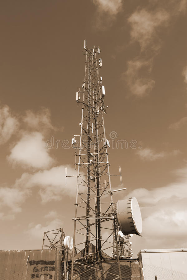 Sepia steel telecommunication tower stock photography