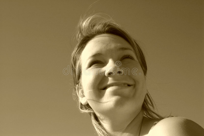 Sepia Sunny Face stock photos