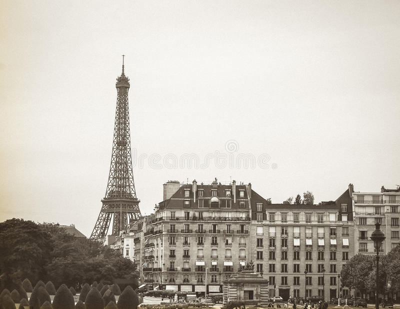 Eiffel Tower with Military Museum Building royalty free stock image