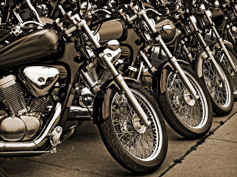 Sepia Tone Parked Motorcycles foto de stock royalty free