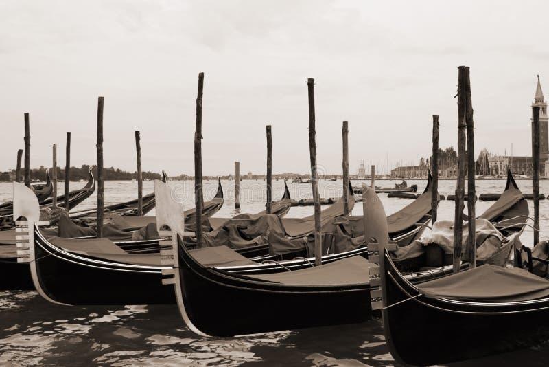Sepia toned cityscape of Venice