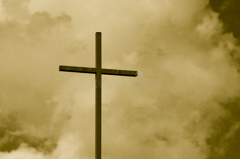 Download Sepia Toned Cross Sky stock image. Image of puff, clouds - 2498899