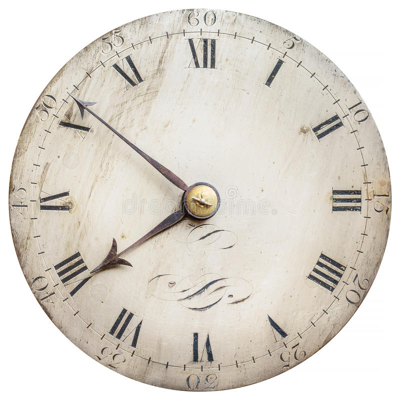 Sepia toned image of an old clock face isolated on white. Sepia toned image of an old clock face isolated on a white background stock photos