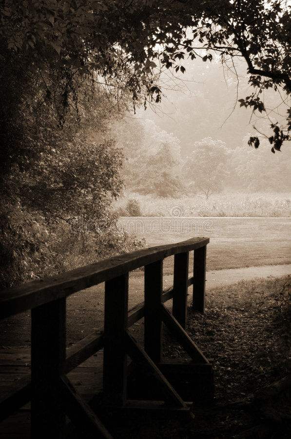 Download Sepia-toned Wooden Bridge And Path Stock Image - Image: 1134765