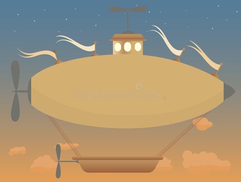 Sepia Van De De Schemermand Van Het Fantasieluchtschip Retro Rust Stock Foto's