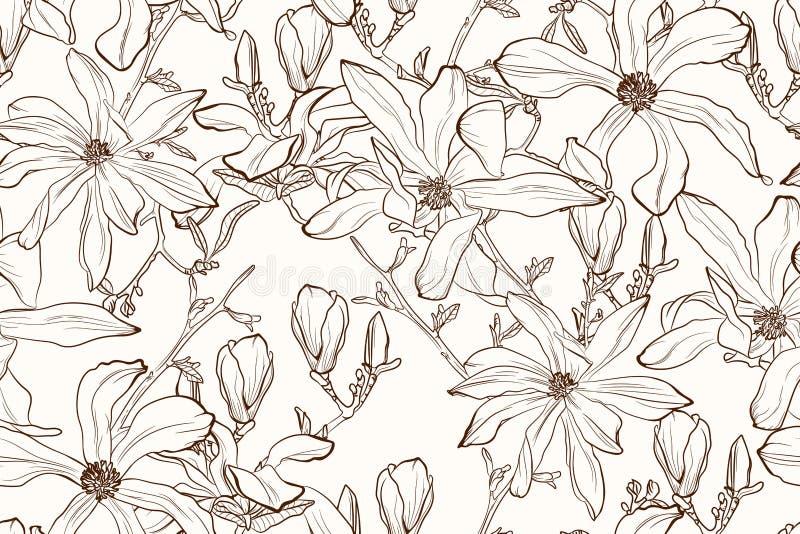 Sepia van de magnoliabloem bruin overzichts naadloos patroon op beige achtergrond royalty-vrije illustratie