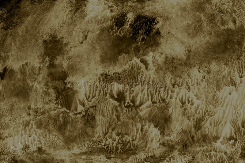 Sepia van de textuurabstractie bruine witte grijze de verfborstel van het achtergrondkunstontwerp royalty-vrije illustratie