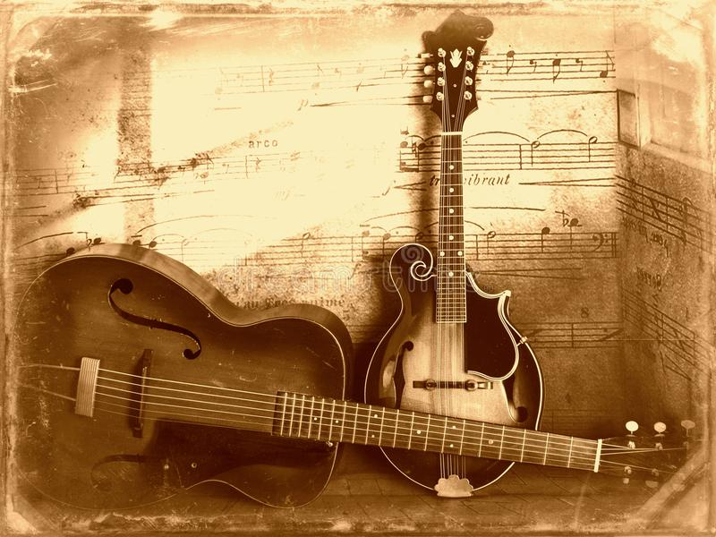 Sepia velho bonito da guitarra e do bandolim do vintage imagem de stock royalty free