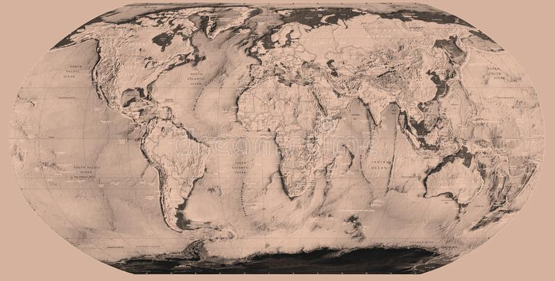 Sepia world map royalty free stock photos
