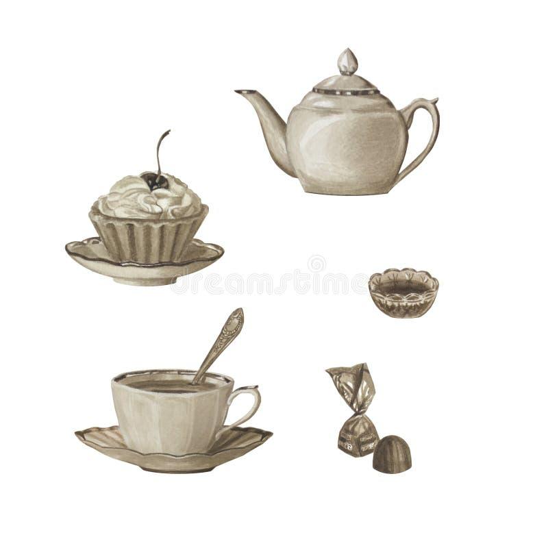 Sepiafärgteservis som isoleras på vit Porslintekanna, kopp, sötsaker arkivbild