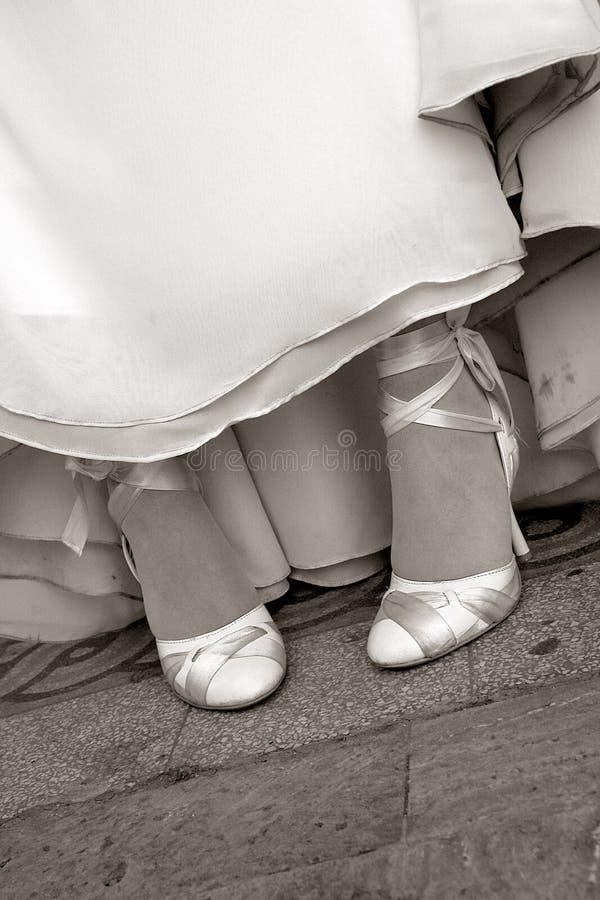 sepiowi ślubne buty fotografia royalty free