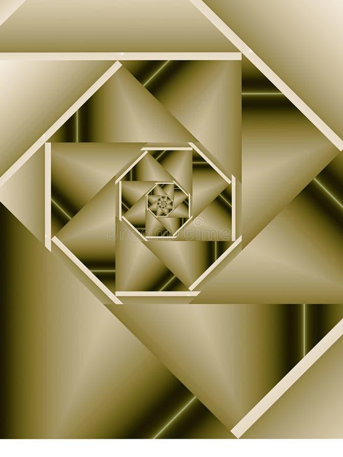 Sepiowy Fractal Sprial ilustracja wektor