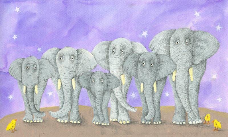 Sept éléphants et trois oiseaux illustration libre de droits