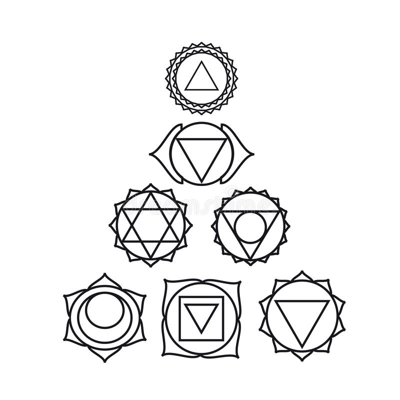 Sept chakras humains, illustration de vecteur illustration de vecteur