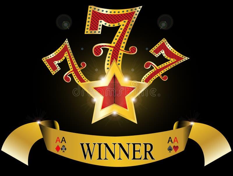 Sept chanceux avec l'étoile d'or et réflexion lustrée illustration de vecteur