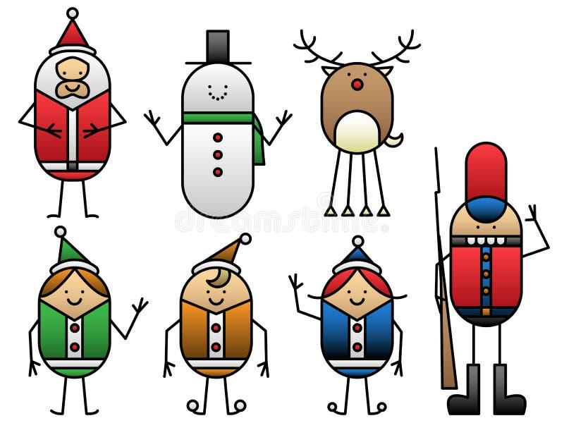 Sept dessins animés de Noël illustration stock