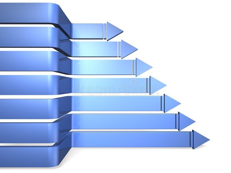 Sept flèches représentant l'avance illustration de vecteur