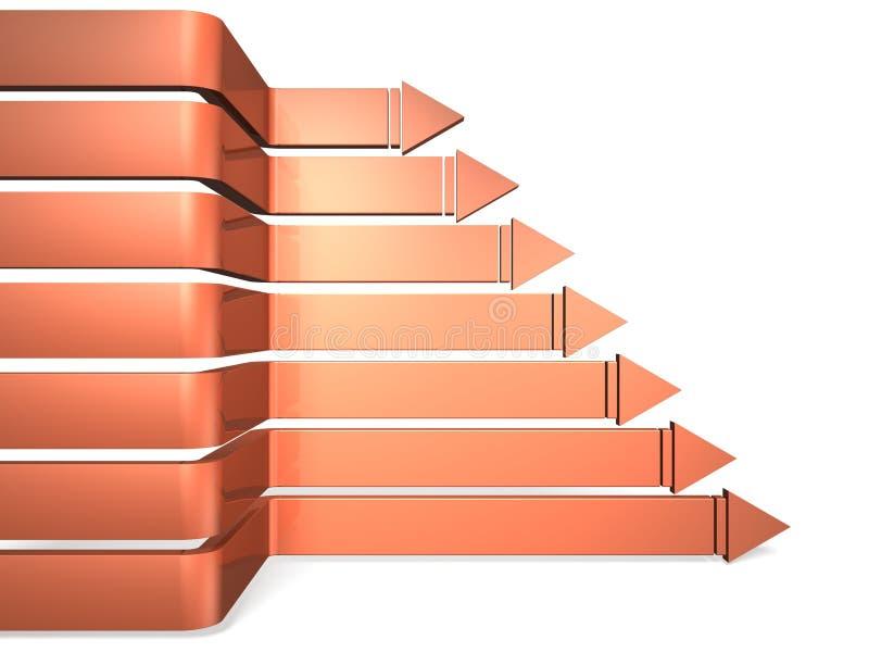 Sept flèches représentant l'avance illustration stock