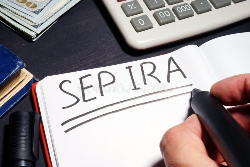 Sept-IRA handgeschrieben auf einer Seite Ruhestandsplan lizenzfreie stockfotografie