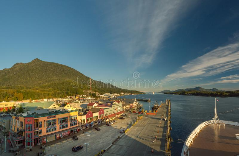 Sept 17, 2018 - Ketchikan, AK: Emptying cruise ship dock and shops on Spruce Mill Way at sunset. stock photography