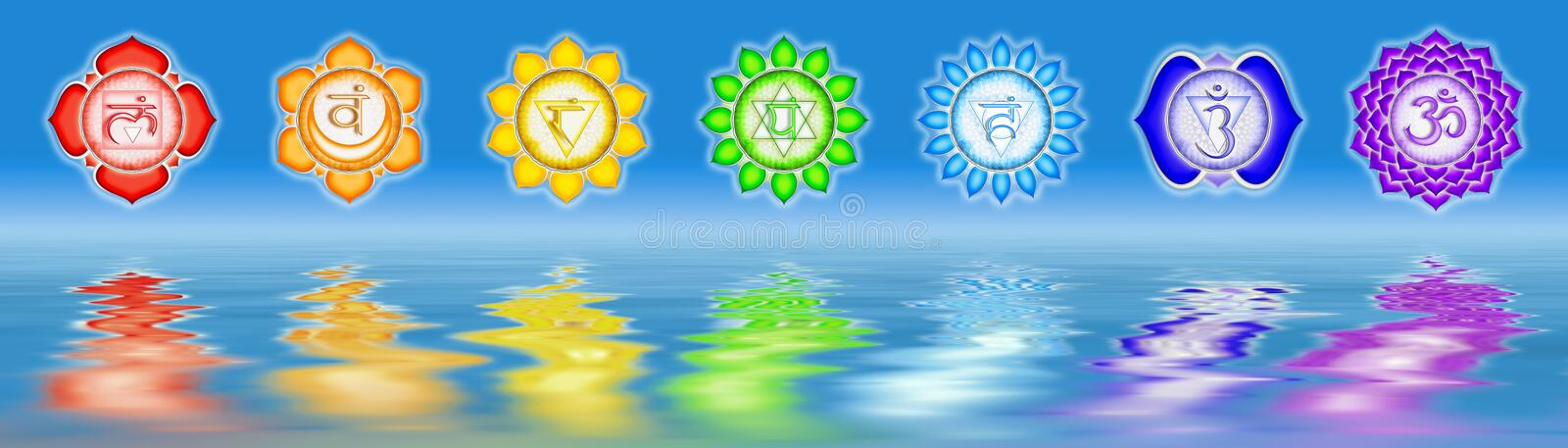 Sept la canalisation Chakras illustration stock