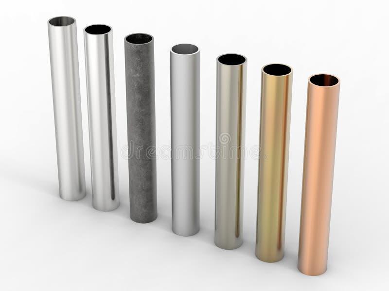 Sept nuances des tuyaux en métal sur le fond blanc illustration de vecteur