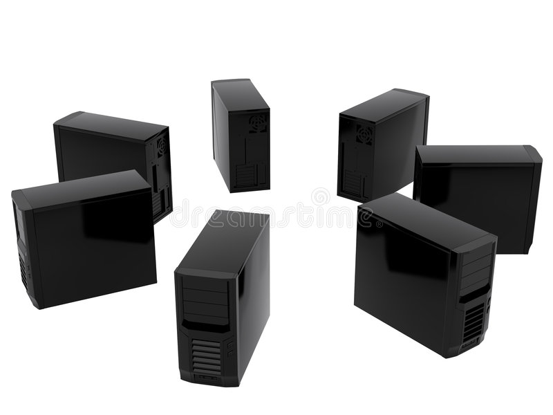 Sept ordinateurs illustration stock