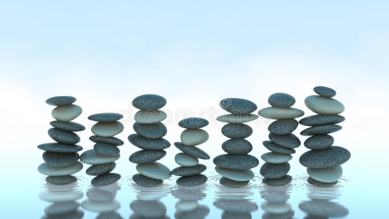 Sept piles de caillou sur l'eau illustration libre de droits