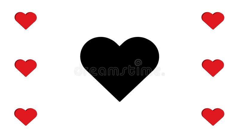 sept rouges et noirs de 3D de coeur de coeurs conception simple d'illustration de vecteur d'amour du multiple illustration libre de droits