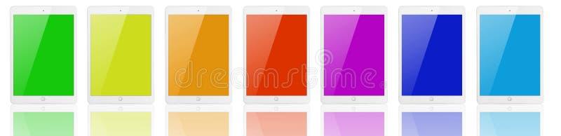 Sept tablettes avec des écrans de couleur illustration stock