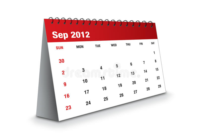 September 2012 - Calendar Series Royalty Free Stock Images