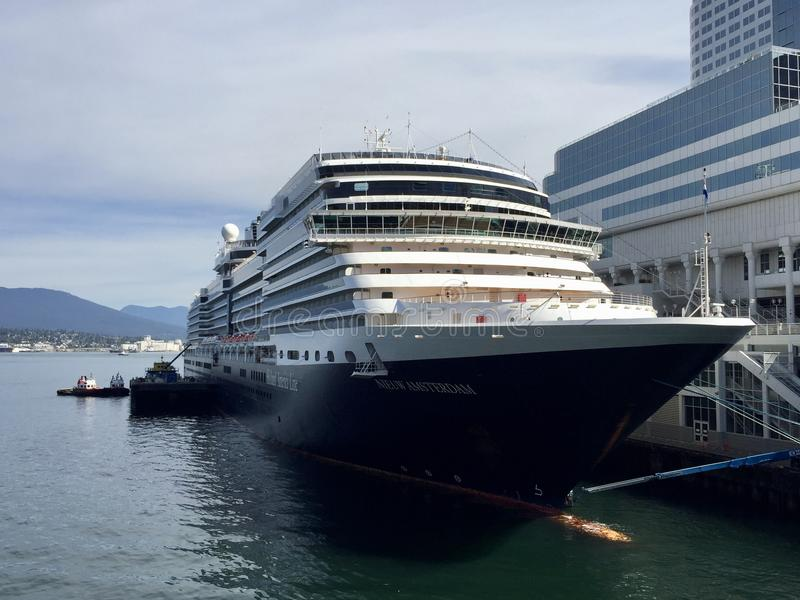 Holland America Line cruise ship at port in Vancouver, Canada stock images