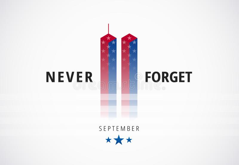9/11 September 11 anfaller det begreppsmässiga logobanret med aldrig glömmer royaltyfri illustrationer