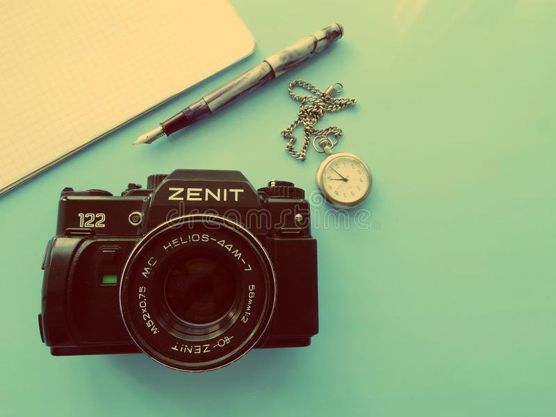 September, 22, 2017 Arzamas, alter Kamera Russlands Zenit stockbild
