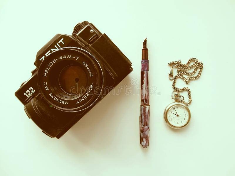 September, 22, 2017 Arzamas, alter Kamera Russlands Zenit stockfotos
