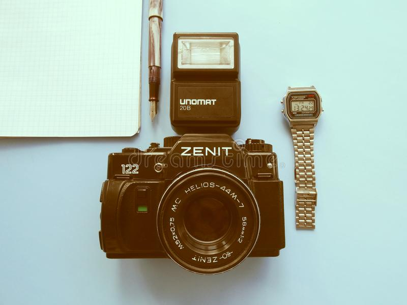 September, 22, 2017 Arzamas, alter Kamera Russlands Zenit lizenzfreie stockfotografie